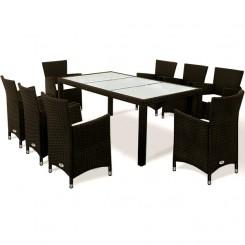 Rattan møbelsæt med 8 stole Farve Sort eller Grå