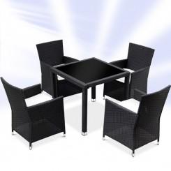 Rattan møbelsæt med 4 stole  Sort