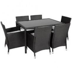 Rattan møbelsæt med 6 stole Farve Sort